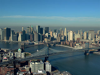 Aerial Photo Mahattan New York City  Brooklyn Bridge